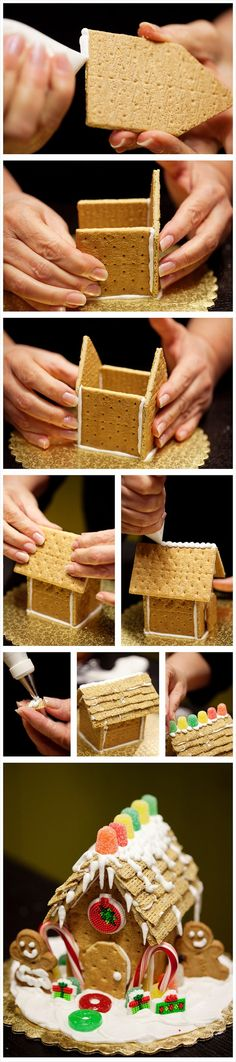 diy gingerbread house  Item's you will need:  Royal Icing  quart size zip lock bag(to pipe on icing)  graham crackers  candy to decorate your house  cardboard wrapped in foil(for the house to sit on)  crunchy oat squares(thatch roof..this is optional)