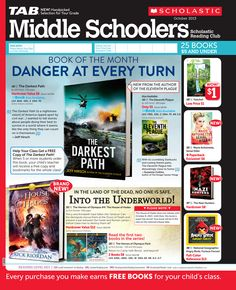 It's the October 2013 Scholastic Reading Club Flyer for Middle Schoolers!