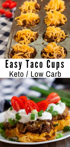 Easy Taco Cups (Keto/Low Carb) These Keto Low Carb Taco Cups are g. - Easy Taco Cups (Keto/Low Carb) These Keto Low Carb Taco Cups are going to become one - Low Carb Recipes, Diet Recipes, Delicious Recipes, Ketogenic Recipes, Dessert Recipes, Keto Recipes Dinner Easy, Healthy Food Recipes, Breakfast Recipes, Keto Snacks