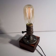Radio style Edison Bulb table lamp in Red Mahogany - Antiqued finished wood base - Steam punk style light - New york loft industrial style