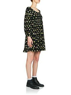 Saint Laurent Long-Sleeve Hand-Embroidered Silk Dress - Black Color -