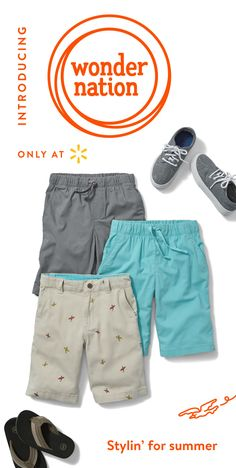 From cargo to pull-on drawstring and adjustable waistbands, we have a short that'll make him look summer-ready every time he puts them on. That's what Wonder Nation is all about with on-trend styles, prints, patterns, comfortable fit & solid craftsmanship to let your kids be kids while looking their best. It's kid fashion made simple. From cool graphics & wardrobe staples to shoes & accessories, find all your children's outfits at Walmart.