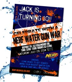 Customized Nerf Water Gun War Invitation by CraftBoxStudio on Etsy Nerf Birthday Party, Nerf Party, Birthday Themes For Boys, 8th Birthday, Nerf Water Guns, Water Gun Party, Water Fight, Summer Fun For Kids