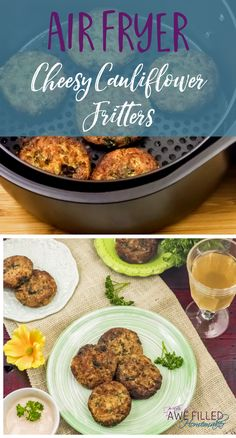 Low carb eating can be delicious! One food I love is cauliflower! So I set out to come up with a tasty air fryer recipe with one of my favorite foods. Replace bread crumbs with crushed pork skins or almond flour for lower carbs. Cauliflower Patties, Cauliflower Fritters, Cheesy Cauliflower, Cauliflower Recipes, Cauliflower Flour, Low Carb Recipes, Vegetarian Recipes, Cooking Recipes, Healthy Recipes