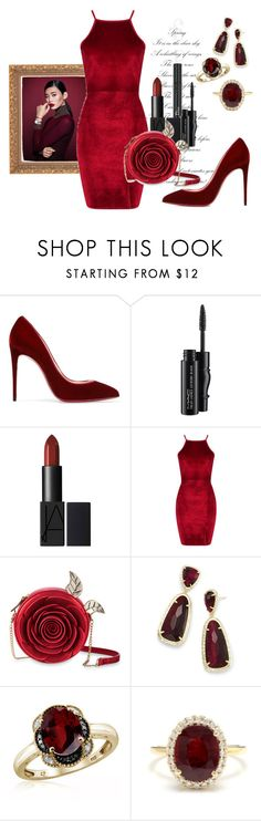 """""""Scarlet Dreams"""" by sarah-ollie ❤ liked on Polyvore featuring Daniel Wellington, Christian Dior, Christian Louboutin, MAC Cosmetics, Boohoo, Danielle Nicole, Kendra Scott, Jewelonfire, Other and velvet"""