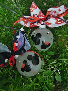 Disney Wedding Favor Ornaments - FOUR Personalized Minnie and Mickey Ornaments - Hand Painted Glass Ball