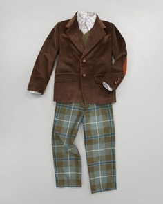 Corduroy Blazer, Cashmere Sweater, Check Shirt & Classic Plaid Trousers by Oscar de la Renta at Neiman Marcus.