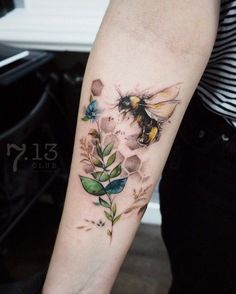 Bee tattoo on sleeve #bodytattoos