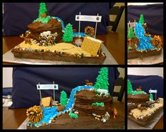 A hunting themed party for my 6 year old! He wanted animals, a waterfall and trees!!