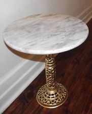 Beautiful round marble top table with ornate brass base. Due to my camera flash: the marble table edge has a yellow look but it is the same color as the top marble. Marble is white with light to dark shades of gray. Darker Shades Of Grey, 3 Drawer Chest, Marble Top, Pedestal, Antique Brass, Dining Table, Base, Marbles, Antiques