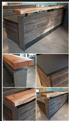 Modern rustic wood slab as bar top and reclaimed, with sides covered with rough hewn wood planks. Into The Woods, Kitchen Designs Photos, Modern Kitchen Design, Modern Design, Wood Design, Deco Restaurant, Restaurant Design, Modern Rustic, Rustic Wood
