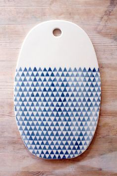 IN STOCK porcelain oval cheese tray platter triangles screenprinted design.