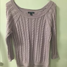 Lilac American Eagle Sweater This three quarter sleeve sweater is light enough for spring. It's beautiful pastel color. It is like new. American Eagle Outfitters Sweaters Crew & Scoop Necks