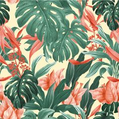 Monstera Leafs by Sabrina Gevaerd Montibeller, via Behance Tropical Pattern - Feat. Monstera Leafs by Sabrina Gevaerd Montibeller, via Behance Tropical Design, Tropical Pattern, Tropical Art, Tropical Vibes, Tropical Leaves, Tropical Flowers, Tropical Prints, Jungle Pattern, Pattern Art