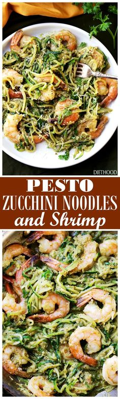 Pesto Zucchini Noodles and Shrimp - Quick and easy dinner recipe with tender zucchini noodles and perfectly sauteed shrimp tossed in a delicious basil pesto sauce. 20 minutes, from start to finish!