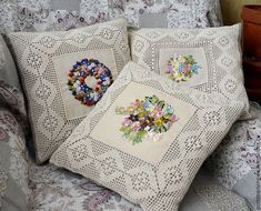 This item is unavailable, Cushion Embroidery, Ribbon Embroidery, Designer Pillow, Pillow Design, Handmade Pillows, Decorative Pillows, Baby Pillows, Throw Pillows, Techniques Couture
