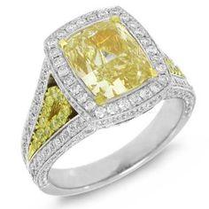 Allurez - 4.62ct 18k Two-Tone Gold GIA Certified Cushion Cut Natural Fancy Yellow Diamond Ring - http://www.wonderfulworldofjewelry.com/jewelry/allurez-462ct-18k-twotone-gold-gia-certified-cushion-cut-natural-fancy-yellow-diamond-ring-de/ - Your First Choice for Jewelry and Jewellery Accessories