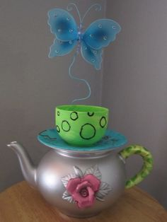 Tea Party Centerpiece - repaint items from thrift store
