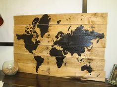 Rustic World Map Pallet Art via Etsy