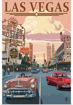 retro poster design Las Vegas Old Strip Scene: Retro Travel Poster Wall Art, Canvas Prints, Framed Prints, Wall Peels Posters Paris, Posters Decor, Posters For Room, Bedroom Posters, Cool Posters, 80s Posters, Retro Kunst, Retro Art, Retro Pics