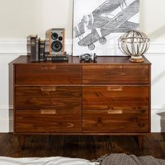 Offer a rich and exclusive addition to your dwelling with the help of this Walker Edison Furniture Company Walnut Mid Century Modern Wood Dresser. Unfinished Wood Dresser, Drawer Lights, 6 Drawer Dresser, Dressers, Modern Dresser, Furniture Assembly, Mid Century Modern Design, Solid Wood, Solid Pine