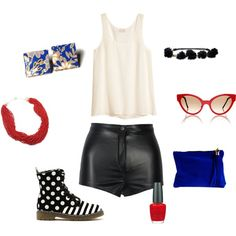 """""""Blue and Red Accents"""" by purplesmoothiee on Polyvore --  Earrings from www.purplesmoothie.etsy.com --  Necklace from www.InVintageHeaven.etsy.com"""