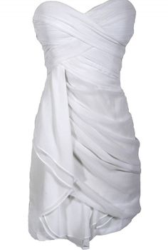 Dreaming of You Chiffon Drape Party Dress in White    www.lilyboutique.com