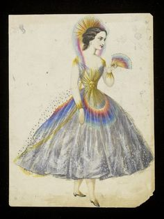 Rainbow | Léon Sault | The grey-blue crinoline dress is overlaid with tulle with applied beads to suggest raindrops, and embellished with a large gold sun on the bodice. Another sun forms the headdress, which is overlaid with a sheer tulle veil tinted in rainbow colours. The overskirt is also coloured with rainbows, and the model carries a matching fan and wears shoes trimmed with golden suns.