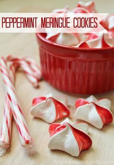 Peppermint Meringue Cookies| High Heels and Grills. These cookies do a great job at breaking the trend on the traditional Christmas cookies, but still keep things festive.