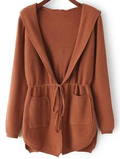 Shop Khaki Hooded Drawstring Waist Pockets Sweater Coat at victoriaswing, personal womens clothing online store! high quality, cheap and big discount, latest fashional style! Loose Knit Sweaters, Sweater Coats, Cardigan Sweaters, Brown Sweater, Hijab Fashion, Fashion Outfits, Estilo Cool, Hijab Style Dress, Relaxed Outfit
