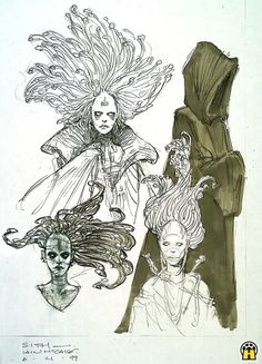 Beautiful Danger Iain McCaig's early illustrations exploring a possible female Sith warrior for Attack of the Clones.