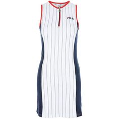 Stripe Logo Bodycon Dress by Fila (£55) ❤ liked on Polyvore featuring dresses, white, white dresses, bodycon mini dress, striped dresses, colorblock dress and white bodycon dresses