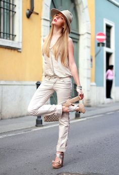 @roressclothes closet ideas #women fashion outfit #clothing style apparel Pretty Jumpsuit Outfit Idea with Hat