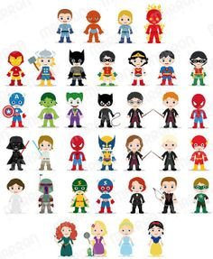 Superhero Inspired Characters Clip Art for Birthdays by elmarron