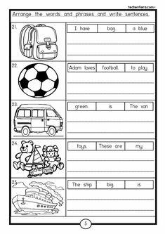 Positional Words Kindergarten, English Worksheets For Kindergarten, Literacy Worksheets, English Grammar Worksheets, First Grade Worksheets, Teaching Phonics, Kindergarten Reading, Reading Worksheets, Kids English
