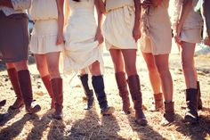 Love the beige/tan bridemaids dresses... and boots!