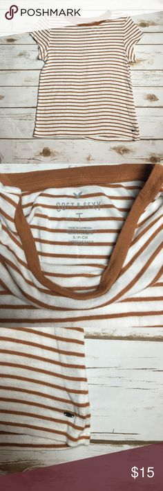 Mustard white stripe AE soft and sexy tee This American eagle soft and sexy tee is in perfect condition, very soft and stretchy crew neck tee. I ❤️ offers! American Eagle Outfitters Tops Tees - Short Sleeve