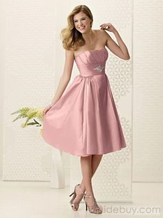 Tidebuy.com Offers High Quality Graceful Knee-Length Crystal Floral Pin Strapless Bridesmaid Dresses 962, We have more styles for Bridesmaid Dresses (Free Shipping)