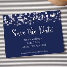 SAMPLE save the date wedding magnet, glittering lights design, navy blue