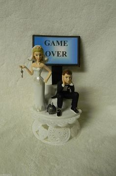 Wedding Party Reception Game Over Sign sassy bride Ball and Chain Cake Topper >>> For more information, visit : baking decorations
