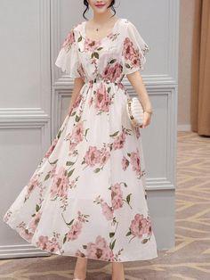 Chic Round Neck Floral Printed Chiffon Maxi Dress