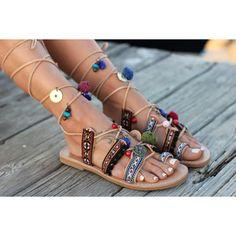 Greek Sandals Tie Up Gladiator Leather Sandals Boho Style Greek... (2.076.335…