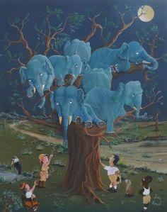 L'éléphant bleu sort des bois à la nuit tombée car, dès minuit,il devient léger,léger au point que le moindre souffle le fait s'envoler. Il aimerait bien rejoindre les étoiles mais cette légèreté n'est pas durable et,comme les pétales de roses bleues,il  retombe  lentement trouvant un perchoir dans les arbres..