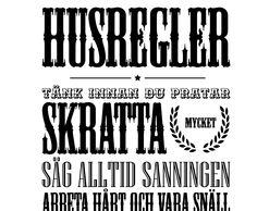 """""""Husregler"""" Väggtext väggord - svenska."""
