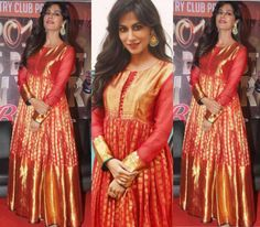 Chitrangada Singh in Gaurang Shah Anarkali – South India Fashion Indian Designer Outfits, Indian Outfits, Designer Dresses, Indian Clothes, Designer Wear, Anarkali Gown, Saree Dress, Anarkali Suits, Neck Designs For Suits