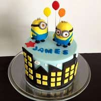 Minions with balloons  Fondant cake