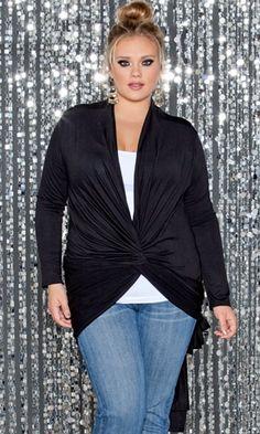 Curvalicious Clothes :: Plus Size Outerwear :: Signature Wrap Cardigan- Onyx
