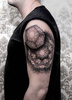 Mandala quarter tattoo - Amazing quarter mandala tattoo on the arms. The tattoo shows 3D pentagon shaped object hovering above the mandala flower design which looks absolutely beautiful and ethereal.
