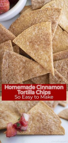 Homemade Cinnamon Tortilla Chips are the perfect crispy treat to satisfy those churro cravings! These easy homemade cinnamon chips cookquickly. Cinnamon Sugar Tortillas, Cinnamon Tortilla Chips, Homemade Tortilla Chips, Homemade Tortillas, Baked Cinnamon Chips, Tortilla Recipes, Homemade Chips, Mexican Food Recipes, Snack Recipes