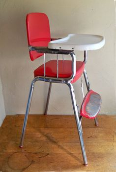 retro high chairs babies staples chair mats 147 best vintage baby images mid century cosco red chrome delight 64 95 via